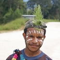 Everyday dress for Huli a-walking up the street, Ambua PNG