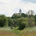 A view of the Baroque Catholic Church at Tiszaalpár, from the Marsh meadow