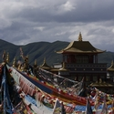 MONASTERY AND PRAYER FLAGS, Anyemaqen