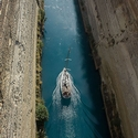 Yatch in the Corinth Canal